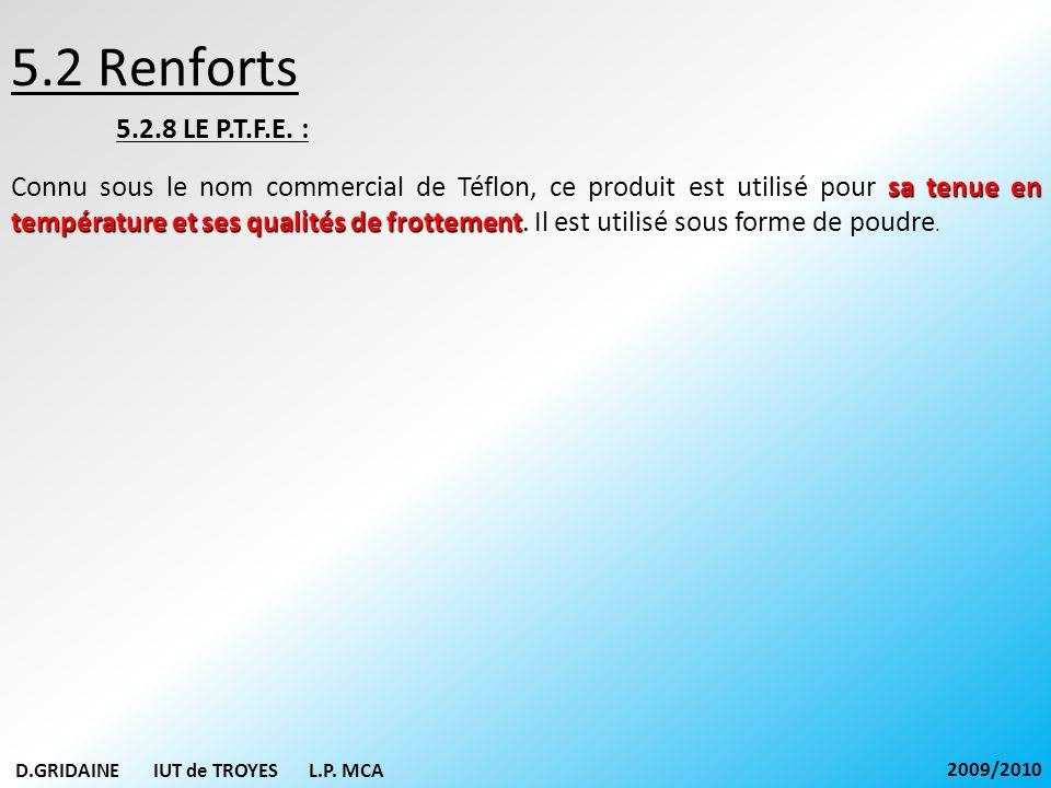 5.2 Renforts 5.2.8 LE P.T.F.E. : sa tenue en température et ses qualités de frottement Connu sous le nom commercial de Téflon, ce produit est utilisé