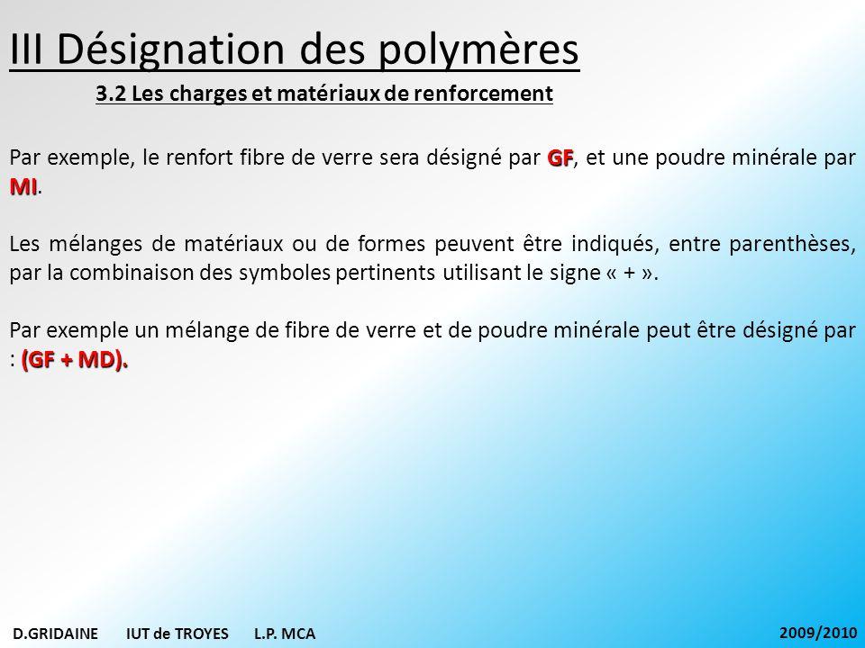 III Désignation des polymères 3.2 Les charges et matériaux de renforcement GF MI Par exemple, le renfort fibre de verre sera désigné par GF, et une po