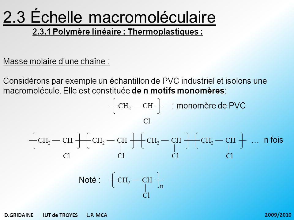 2.3 Échelle macromoléculaire 2.3.1 Polymère linéaire : Thermoplastiques : Masse molaire dune chaîne : de n motifs monomères Considérons par exemple un
