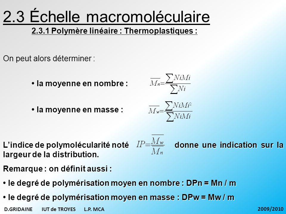 On peut alors déterminer : 2.3 Échelle macromoléculaire 2.3.1 Polymère linéaire : Thermoplastiques : la moyenne en nombre : la moyenne en nombre : la