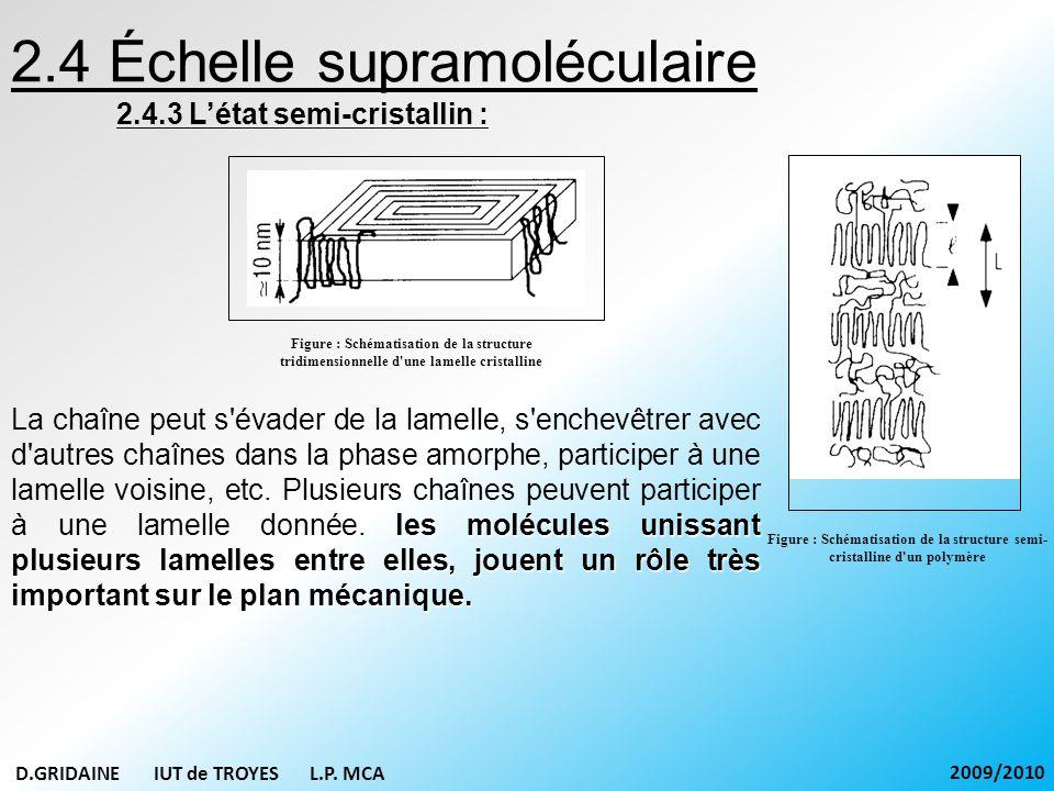 Figure : Schématisation de la structure semi- cristalline d'un polymère 2.4 Échelle supramoléculaire 2.4.3 Létat semi-cristallin : les molécules uniss