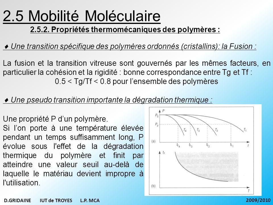 2.5 Mobilité Moléculaire 2.5.2. Propriétés thermomécaniques des polymères : Une transition spécifique des polymères ordonnés (cristallins): la Fusion