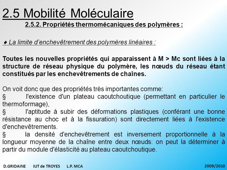2.5 Mobilité Moléculaire 2.5.2. Propriétés thermomécaniques des polymères : La limite denchevêtrement des polymères linéaires : Toutes les nouvelles p