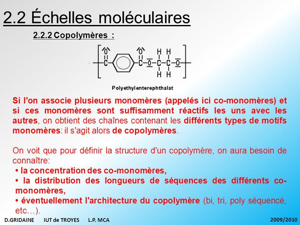 2.3 Échelle macromoléculaire 2.3.1 Polymère linéaire : Thermoplastiques : Figure : Exemple de courbe de distribution des masses moléculaires un mélange de macromolécules de longueurs différentes Les synthèses de polymères conduisent toujours à un mélange de macromolécules de longueurs différentes (du au caractère aléatoire du processus de polymérisation).