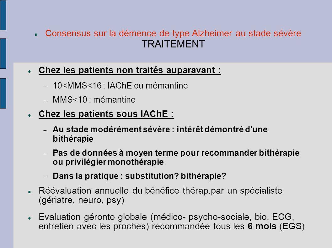 Consensus sur la démence de type Alzheimer au stade sévère TRAITEMENT Chez les patients non traités auparavant : 10<MMS<16 : IAChE ou mémantine MMS<10