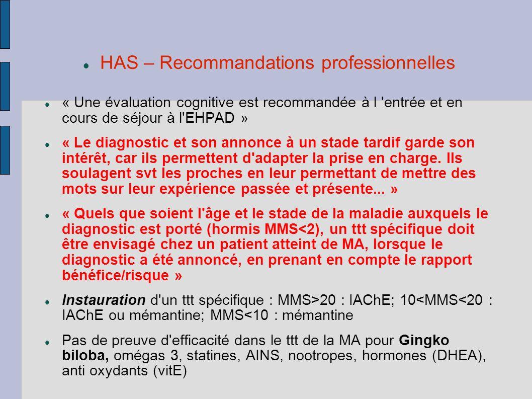 HAS – Recommandations professionnelles « Une évaluation cognitive est recommandée à l 'entrée et en cours de séjour à l'EHPAD » « Le diagnostic et son