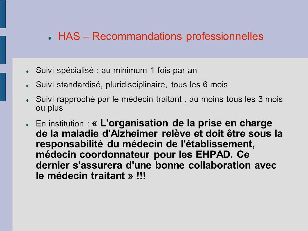 HAS – Recommandations professionnelles Suivi spécialisé : au minimum 1 fois par an Suivi standardisé, pluridisciplinaire, tous les 6 mois Suivi rappro