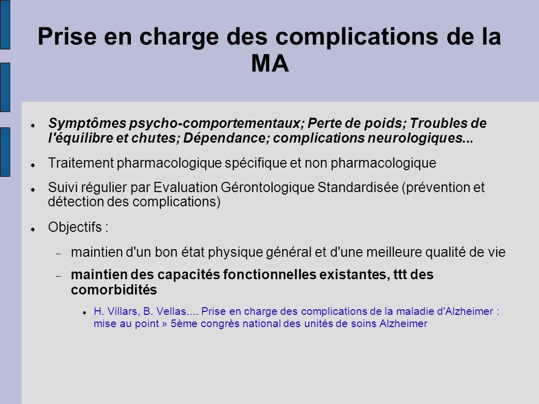 Prise en charge des complications de la MA Symptômes psycho-comportementaux; Perte de poids; Troubles de l'équilibre et chutes; Dépendance; complicati