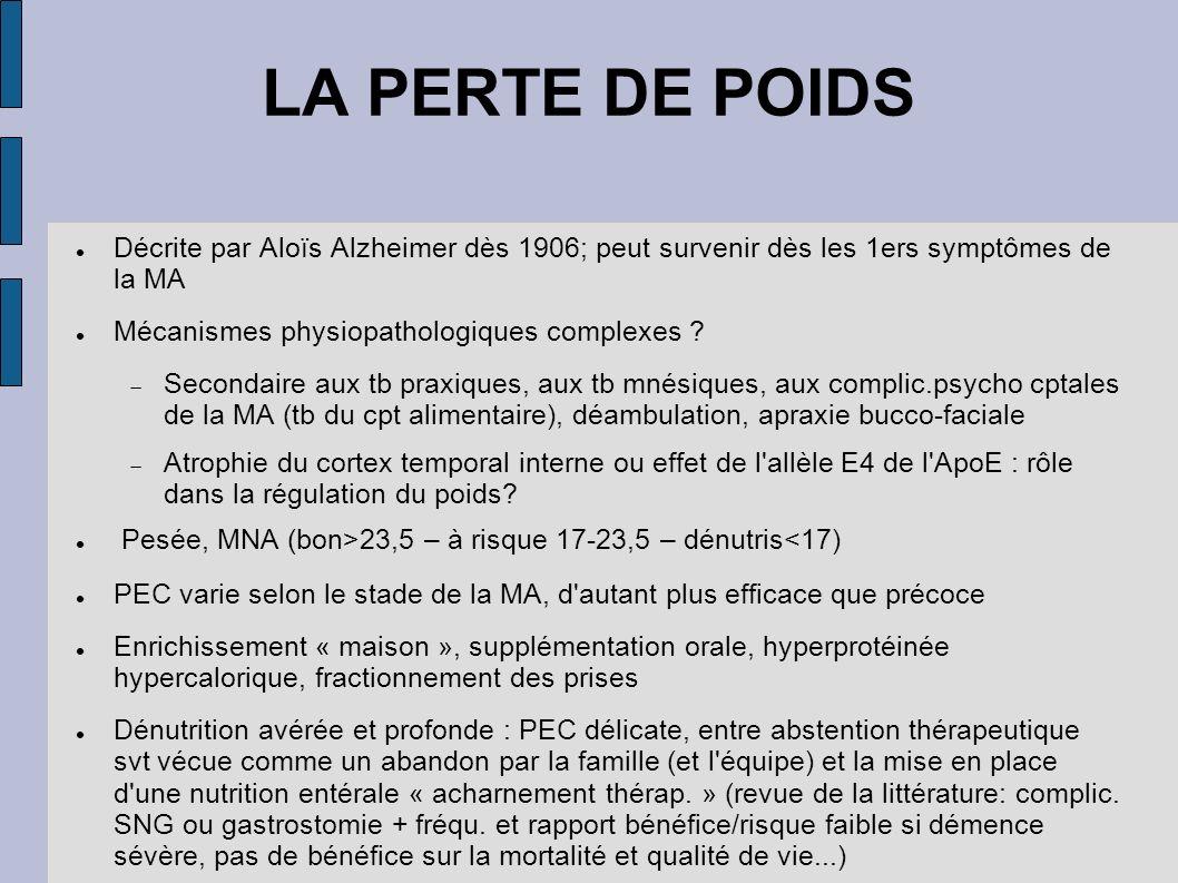LA PERTE DE POIDS Décrite par Aloïs Alzheimer dès 1906; peut survenir dès les 1ers symptômes de la MA Mécanismes physiopathologiques complexes ? Secon