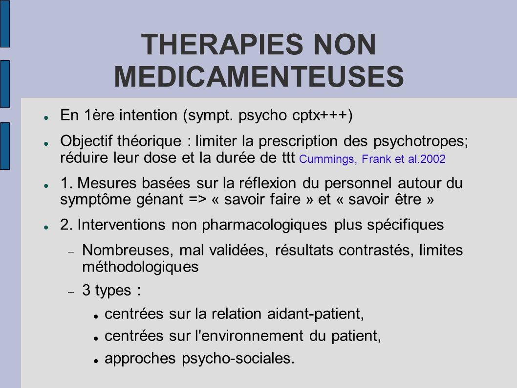 En 1ère intention (sympt. psycho cptx+++) Objectif théorique : limiter la prescription des psychotropes; réduire leur dose et la durée de ttt Cummings
