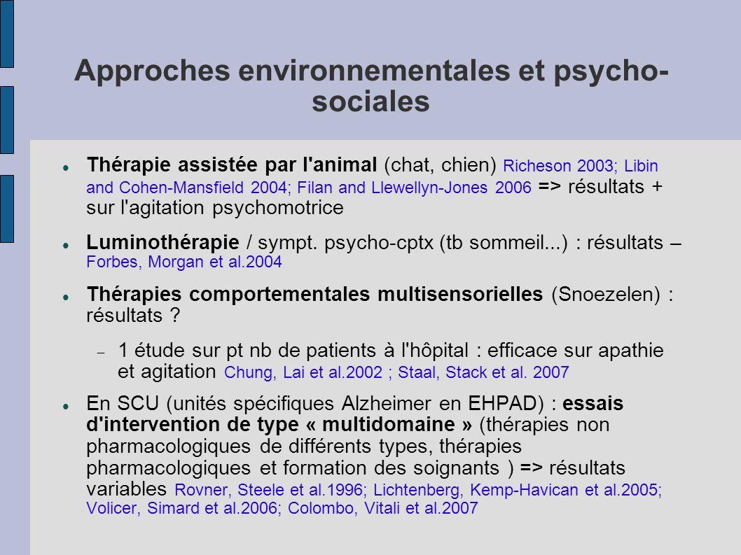 Approches environnementales et psycho- sociales Thérapie assistée par l'animal (chat, chien) Richeson 2003; Libin and Cohen-Mansfield 2004; Filan and