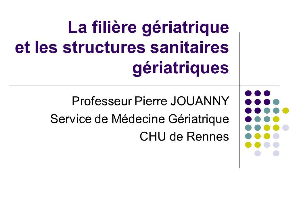 La filière gériatrique et les structures sanitaires gériatriques Professeur Pierre JOUANNY Service de Médecine Gériatrique CHU de Rennes