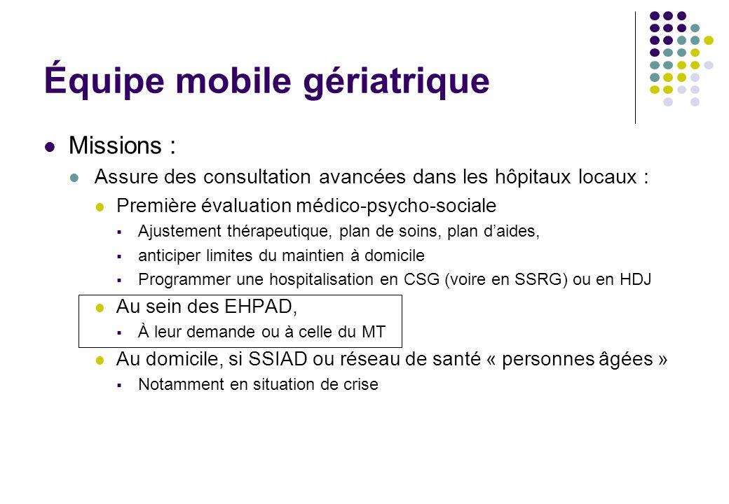 Équipe mobile gériatrique Missions : Assure des consultation avancées dans les hôpitaux locaux : Première évaluation médico-psycho-sociale Ajustement