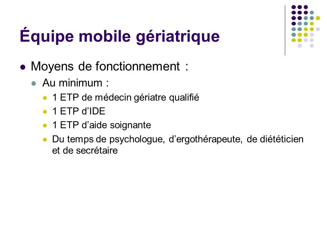 Équipe mobile gériatrique Moyens de fonctionnement : Au minimum : 1 ETP de médecin gériatre qualifié 1 ETP dIDE 1 ETP daide soignante Du temps de psyc