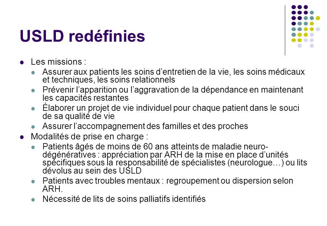 USLD redéfinies Les missions : Assurer aux patients les soins dentretien de la vie, les soins médicaux et techniques, les soins relationnels Prévenir
