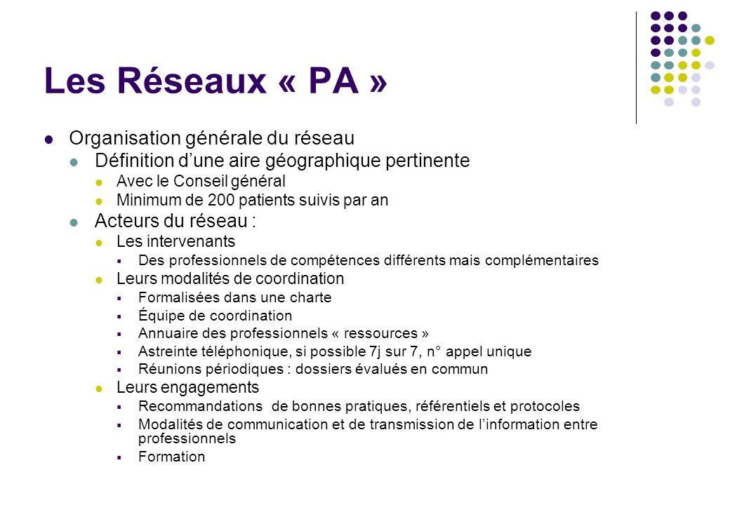 Les Réseaux « PA » Organisation générale du réseau Définition dune aire géographique pertinente Avec le Conseil général Minimum de 200 patients suivis
