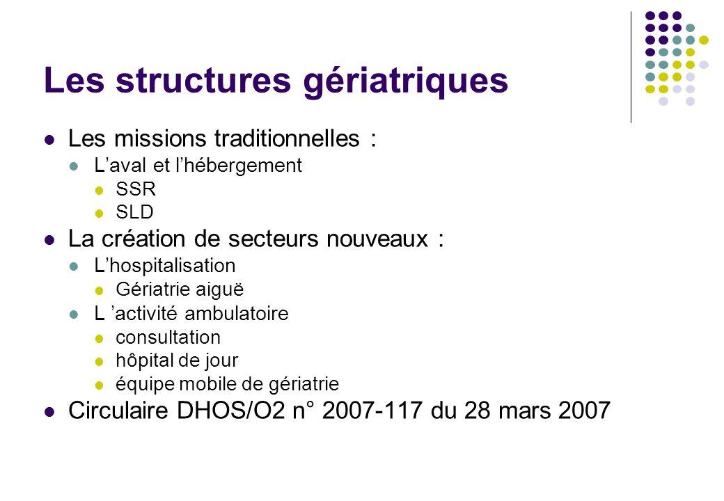 Les structures gériatriques Les missions traditionnelles : Laval et lhébergement SSR SLD La création de secteurs nouveaux : Lhospitalisation Gériatrie