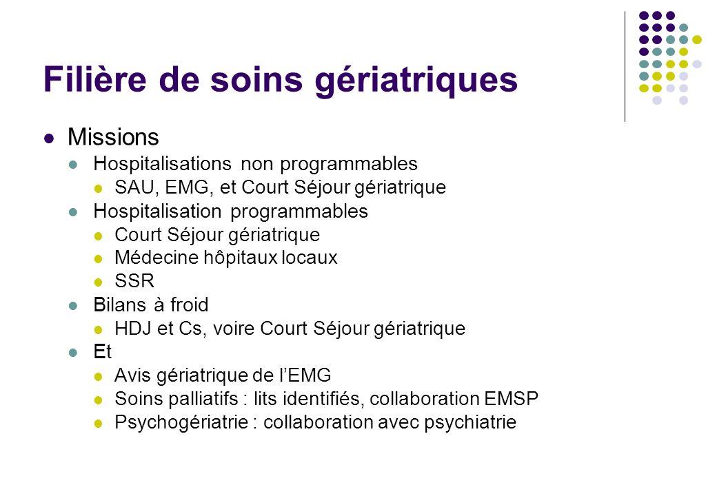 Filière de soins gériatriques Missions Hospitalisations non programmables SAU, EMG, et Court Séjour gériatrique Hospitalisation programmables Court Sé