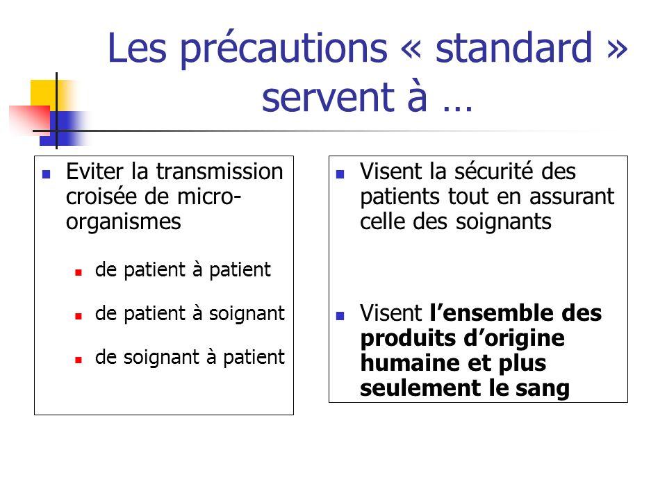 Les précautions « standard » servent à … Eviter la transmission croisée de micro- organismes de patient à patient de patient à soignant de soignant à