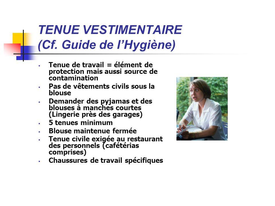 TENUE VESTIMENTAIRE (Cf. Guide de lHygiène) Tenue de travail = élément de protection mais aussi source de contamination Pas de vêtements civils sous l