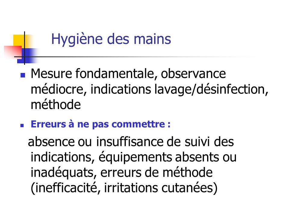 Hygiène des mains Mesure fondamentale, observance médiocre, indications lavage/désinfection, méthode Erreurs à ne pas commettre : absence ou insuffisa