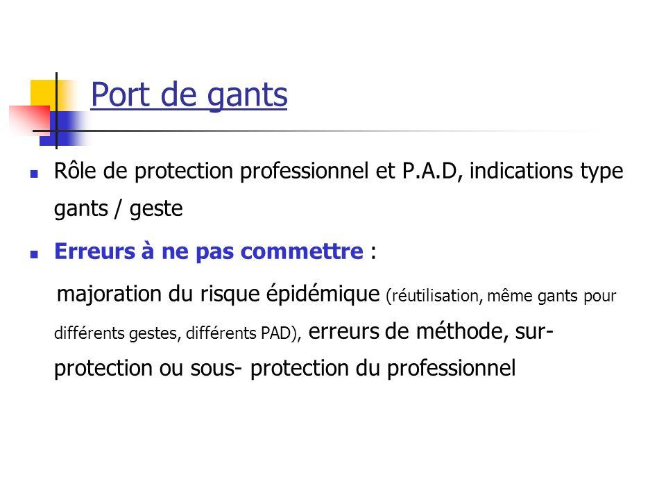Port de gants Rôle de protection professionnel et P.A.D, indications type gants / geste Erreurs à ne pas commettre : majoration du risque épidémique (