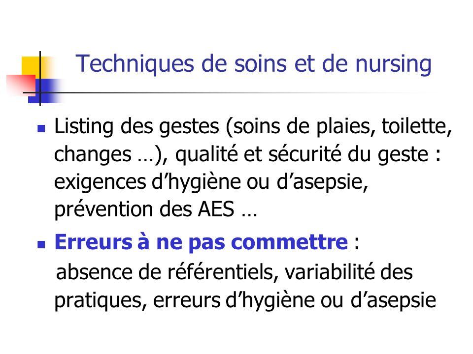 Techniques de soins et de nursing Listing des gestes (soins de plaies, toilette, changes …), qualité et sécurité du geste : exigences dhygiène ou dase