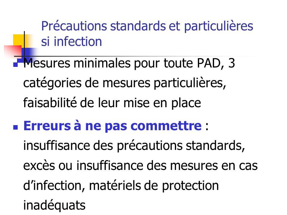 Précautions standards et particulières si infection Mesures minimales pour toute PAD, 3 catégories de mesures particulières, faisabilité de leur mise