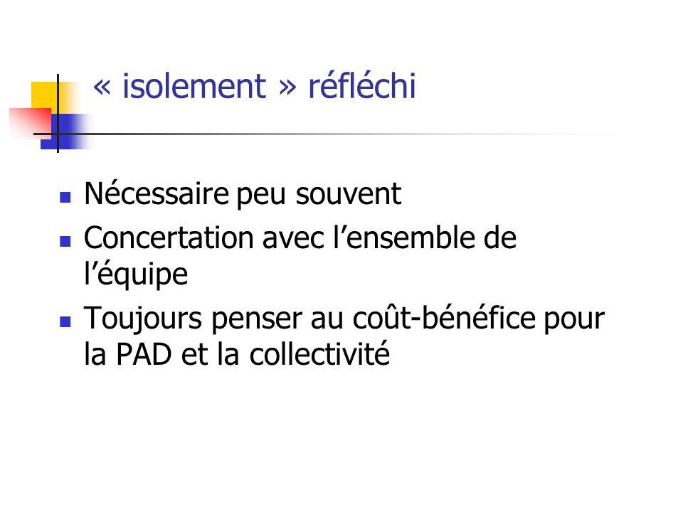 « isolement » réfléchi Nécessaire peu souvent Concertation avec lensemble de léquipe Toujours penser au coût-bénéfice pour la PAD et la collectivité