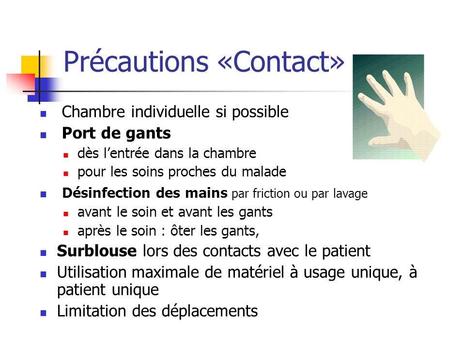 Précautions «Contact» Chambre individuelle si possible Port de gants dès lentrée dans la chambre pour les soins proches du malade Désinfection des mai