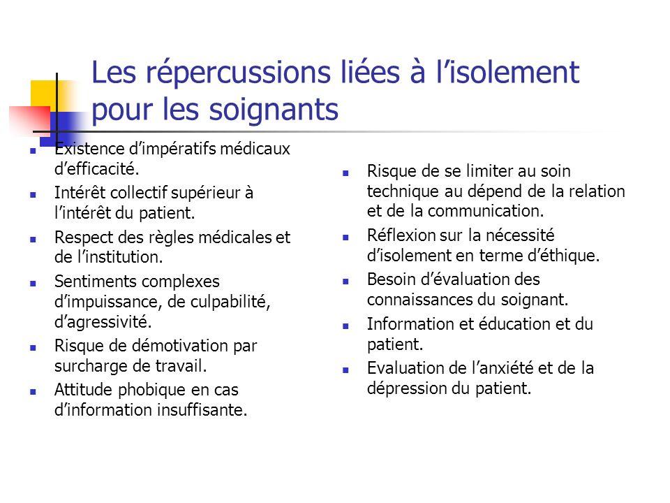 Les répercussions liées à lisolement pour les soignants Existence dimpératifs médicaux defficacité. Intérêt collectif supérieur à lintérêt du patient.