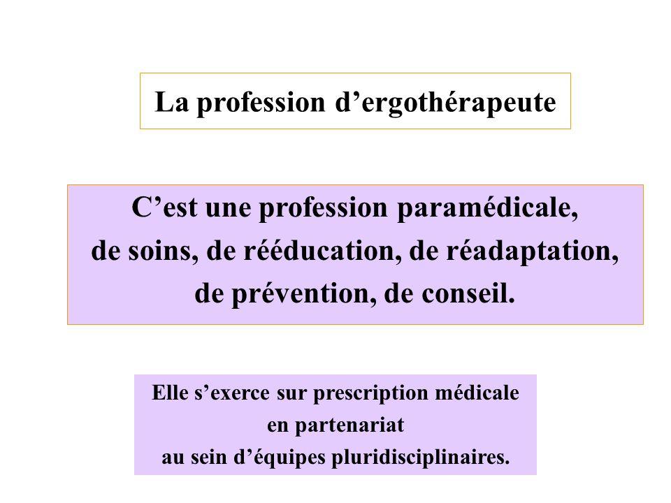 La profession dergothérapeute Cest une profession paramédicale, de soins, de rééducation, de réadaptation, de prévention, de conseil. Elle sexerce sur