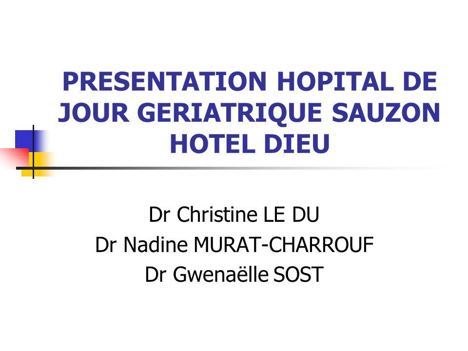 PRESENTATION HOPITAL DE JOUR GERIATRIQUE SAUZON HOTEL DIEU Dr Christine LE DU Dr Nadine MURAT-CHARROUF Dr Gwenaëlle SOST