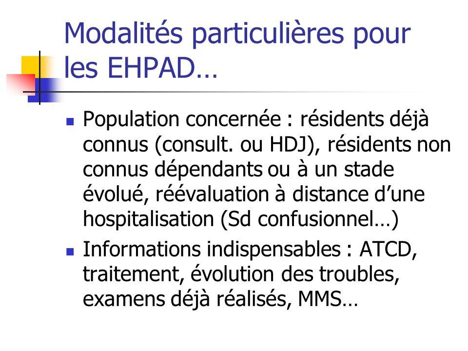 Modalités particulières pour les EHPAD… Population concernée : résidents déjà connus (consult. ou HDJ), résidents non connus dépendants ou à un stade