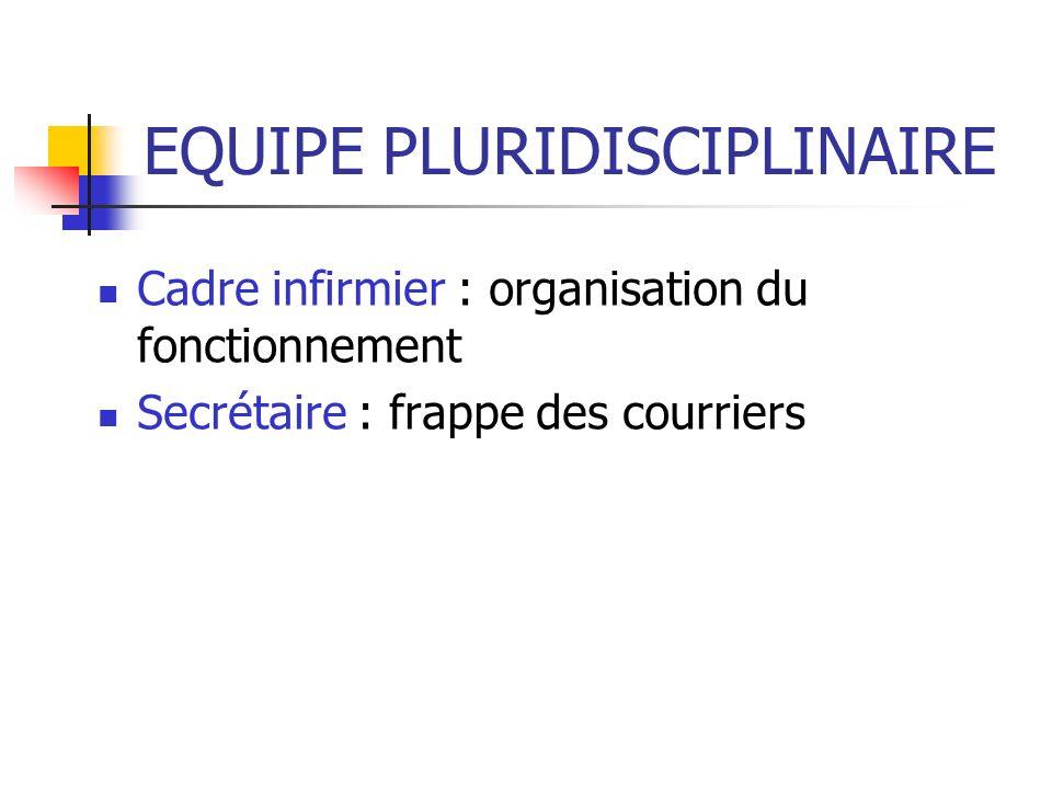 EQUIPE PLURIDISCIPLINAIRE Cadre infirmier : organisation du fonctionnement Secrétaire : frappe des courriers