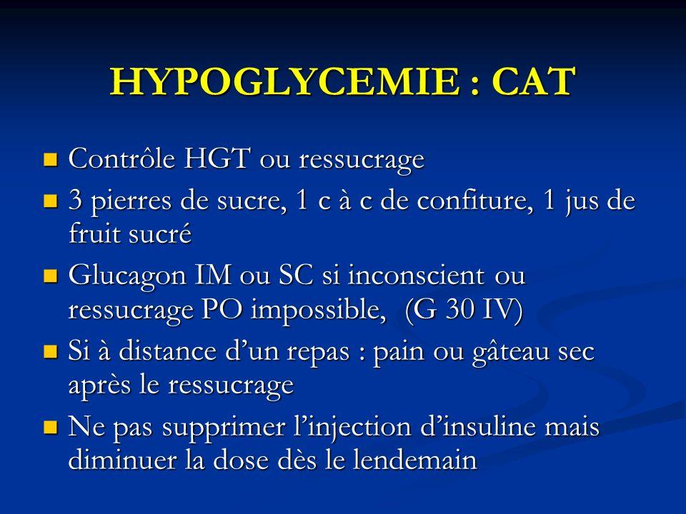 HYPOGLYCEMIE : CAT Contrôle HGT ou ressucrage Contrôle HGT ou ressucrage 3 pierres de sucre, 1 c à c de confiture, 1 jus de fruit sucré 3 pierres de s