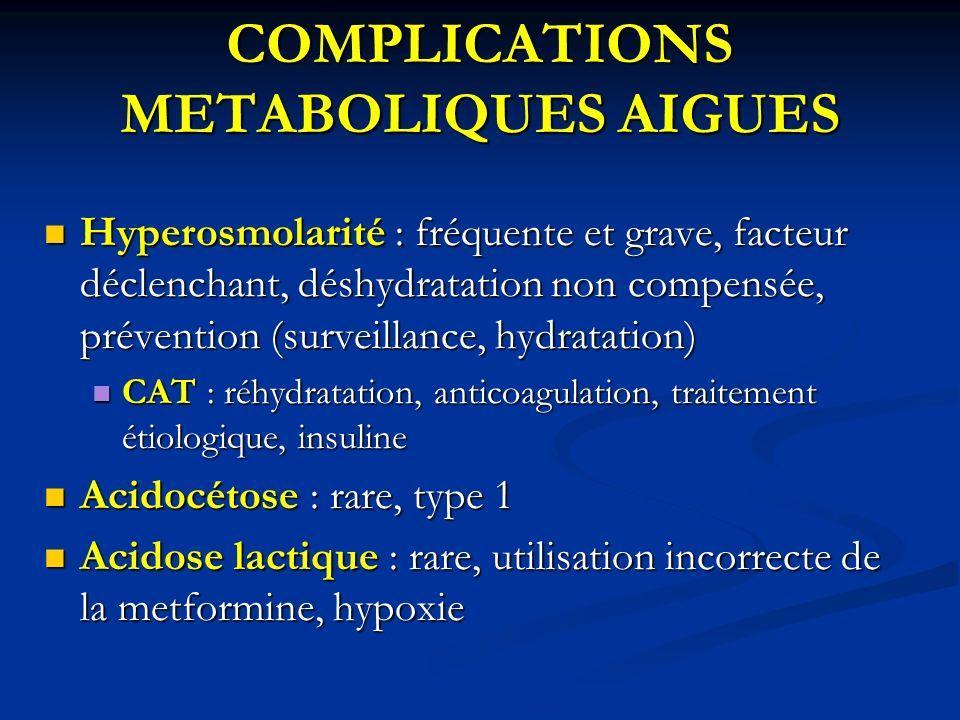 COMPLICATIONS METABOLIQUES AIGUES Hyperosmolarité : fréquente et grave, facteur déclenchant, déshydratation non compensée, prévention (surveillance, h