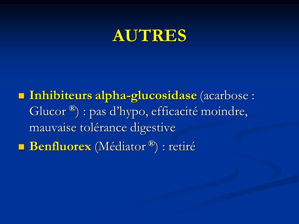 AUTRES Inhibiteurs alpha-glucosidase (acarbose : Glucor ® ) : pas dhypo, efficacité moindre, mauvaise tolérance digestive Inhibiteurs alpha-glucosidas