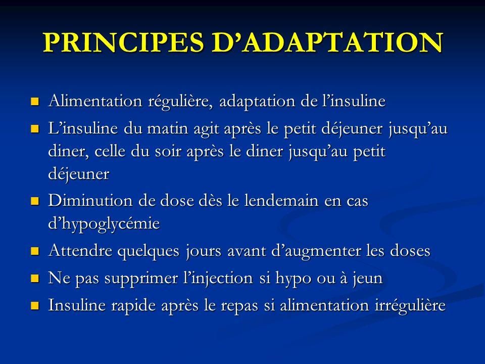 PRINCIPES DADAPTATION Alimentation régulière, adaptation de linsuline Alimentation régulière, adaptation de linsuline Linsuline du matin agit après le