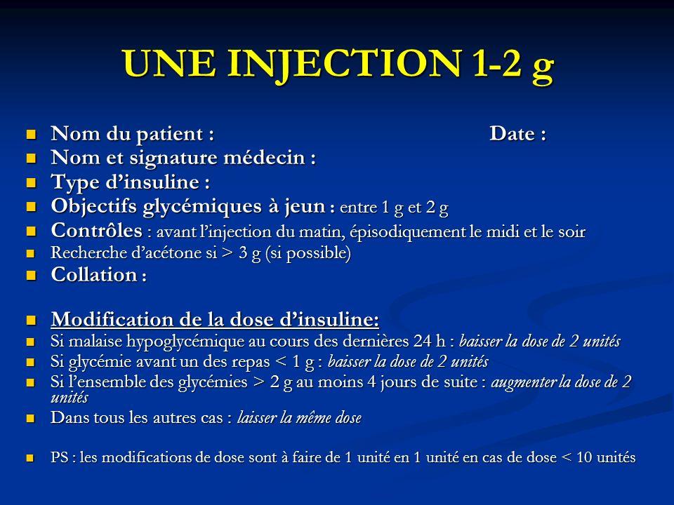 UNE INJECTION 1-2 g Nom du patient : Date : Nom du patient : Date : Nom et signature médecin : Nom et signature médecin : Type dinsuline : Type dinsul