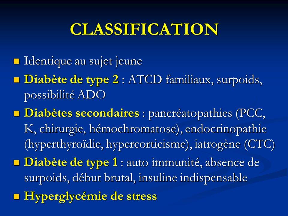 CLASSIFICATION Identique au sujet jeune Identique au sujet jeune Diabète de type 2 : ATCD familiaux, surpoids, possibilité ADO Diabète de type 2 : ATC