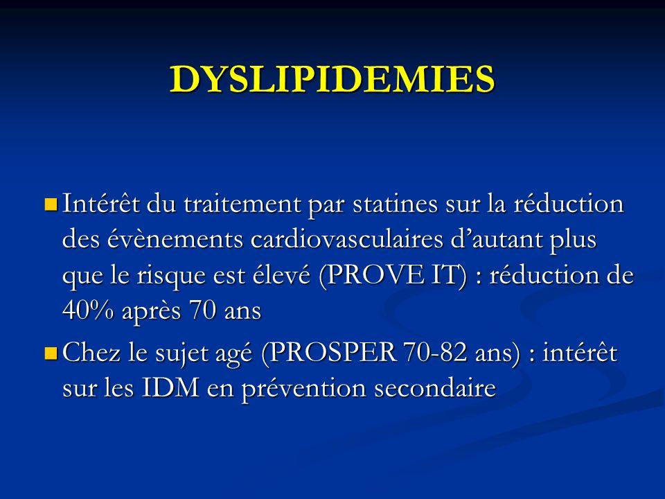 DYSLIPIDEMIES Intérêt du traitement par statines sur la réduction des évènements cardiovasculaires dautant plus que le risque est élevé (PROVE IT) : r