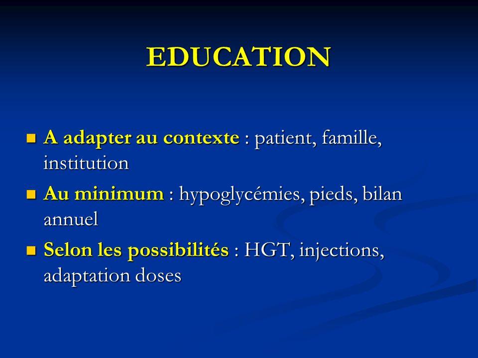 EDUCATION A adapter au contexte : patient, famille, institution A adapter au contexte : patient, famille, institution Au minimum : hypoglycémies, pied