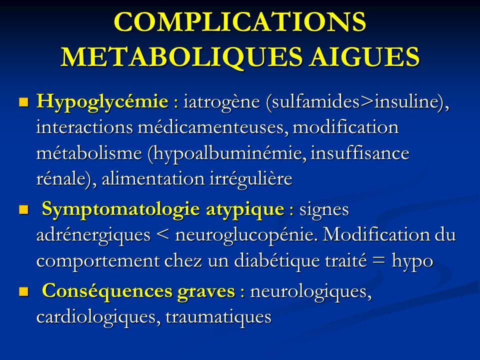 COMPLICATIONS METABOLIQUES AIGUES Hypoglycémie : iatrogène (sulfamides>insuline), interactions médicamenteuses, modification métabolisme (hypoalbuminé