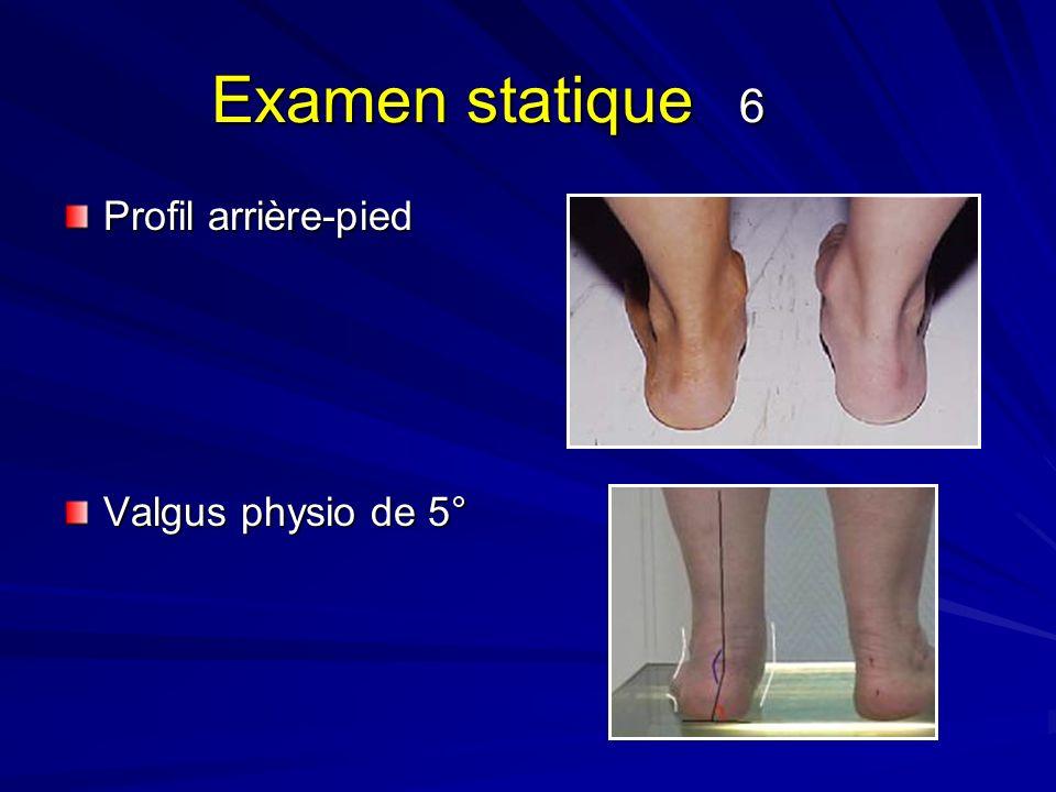 Examen statique 6 Profil arrière-pied Valgus physio de 5°