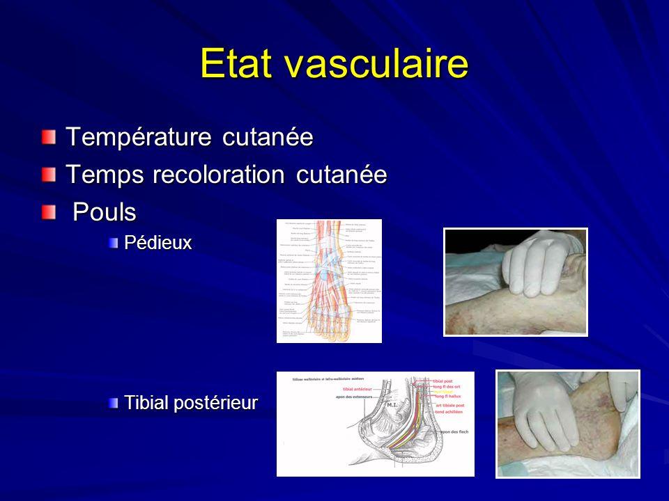 Etat vasculaire Température cutanée Temps recoloration cutanée Pouls PoulsPédieux Tibial postérieur