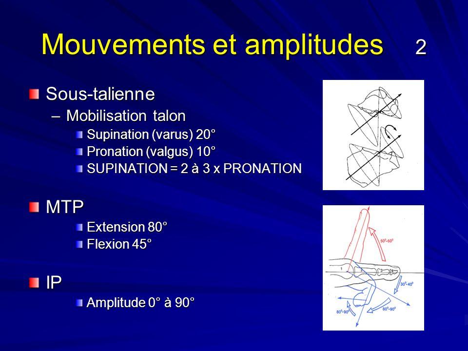 Mouvements et amplitudes 2 Sous-talienne –Mobilisation talon Supination (varus) 20° Pronation (valgus) 10° SUPINATION = 2 à 3 x PRONATION MTP Extensio