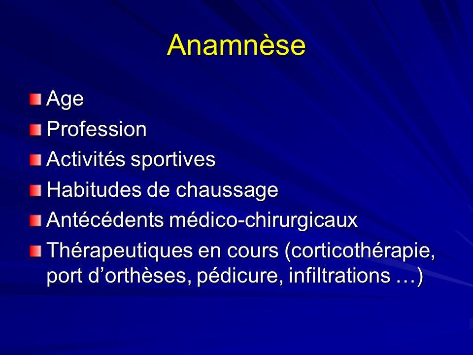 Anamnèse AgeProfession Activités sportives Habitudes de chaussage Antécédents médico-chirurgicaux Thérapeutiques en cours (corticothérapie, port dorth