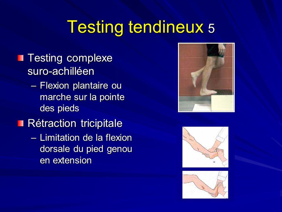 Testing tendineux 5 Testing complexe suro-achilléen –Flexion plantaire ou marche sur la pointe des pieds Rétraction tricipitale –Limitation de la flex