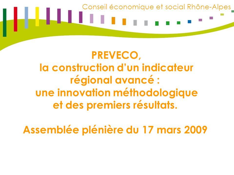 C E S R R h ô n e – A l p e s Conseil économique et social Rhône-Alpes PREVECO, la construction dun indicateur régional avancé : une innovation méthodologique et des premiers résultats.